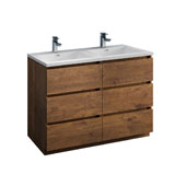 Lazzaro 48'' Freestanding Double Modern Bathroom Vanity Cabinet with Integrated Sinks in Rosewood, 47-1/2'' W x 18-1/2'' D x 35-2/5'' H