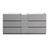 Lazzaro 72'' Freestanding Partitioned Double Bathroom Vanity Cabinet in Gray Finish, 71'' W x 18-2/5'' D x 34-3/10'' H