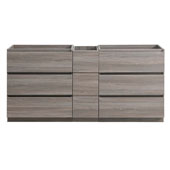 Lazzaro 72'' Freestanding Partitioned Double Bathroom Vanity Cabinet in Gray Wood Finish, 71'' W x 18-2/5'' D x 34-3/10'' H