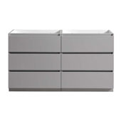 Lazzaro 60'' Freestanding Double Bathroom Vanity Cabinet in Gray Finish, 59-1/10'' W x 18-2/5'' D x 34-3/10'' H