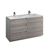 Lazzaro 60'' Freestanding Double Bathroom Vanity Cabinet with Integrated in Glossy Ash Gray Finish, 59-3/10'' W x 18-1/2'' D x 35-2/5'' H
