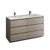 Lazzaro 60'' Freestanding Double Bathroom Vanity Cabinet with Integrated Sinks in Gray Wood Finish, 59-3/10'' W x 18-1/2'' D x 35-2/5'' H