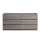 Lazzaro 60'' Freestanding Double Bathroom Vanity Cabinet in Gray Wood Finish, 59-1/10'' W x 18-2/5'' D x 34-3/10'' H