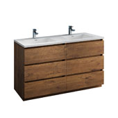 Lazzaro 60'' Freestanding Double Bathroom Vanity Cabinet with Integrated Sinks in Rosewood Finish, 59-3/10'' W x 18-1/2'' D x 35-2/5'' H