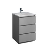 Lazzaro 24'' Freestanding Single Bathroom Vanity Cabinet with Integrated Sink in Gray Finish, 23-4/5'' W x 18-1/2'' D x 35-2/5'' H