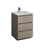 Lazzaro 24'' Freestanding Single Bathroom Vanity Cabinet with Integrated Sink in Gray Wood Finish, 23-4/5'' W x 18-1/2'' D x 35-2/5'' H