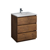 Lazzaro 30'' Freestanding Single Bathroom Vanity Cabinet with Integrated Sink in Rosewood Finish, 29-7/10'' W x 18-1/2'' D x 35-2/5'' H