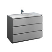 Lazzaro 48'' Freestanding Single Modern Bathroom Vanity Cabinet with Integrated Sink in Gray, 47-1/2'' W x 18-1/2'' D x 35-2/5'' H