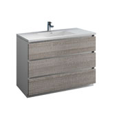 Lazzaro 48'' Freestanding Single Modern Bathroom Vanity Cabinet with Integrated Sink in Glossy Ash Gray, 47-1/2'' W x 18-1/2'' D x 35-2/5'' H
