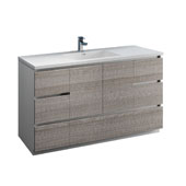 Lazzaro 60'' Freestanding Single Bathroom Vanity Cabinet with Integrated Sink in Glossy Ash Gray Finish, 59-3/10'' W x 18-1/2'' D x 35-2/5'' H