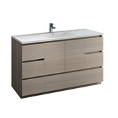 Lazzaro 60'' Freestanding Single Bathroom Vanity Cabinet with Integrated Sink in Gray Wood Finish, 59-3/10'' W x 18-1/2'' D x 35-2/5'' H