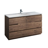 Lazzaro 60'' Freestanding Single Bathroom Vanity Cabinet with Integrated Sink in Rosewood Finish, 59-3/10'' W x 18-1/2'' D x 35-2/5'' H