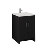 Imperia 24'' Freestanding Single Bathroom Cabinet with Integrated Sink in Dark Gray Oak Finish, 23-4/5'' W x 18-1/2'' D x 35-2/5'' H