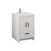 Imperia 24'' Freestanding Single Bathroom Cabinet with Integrated Sink in Glossy White Finish, 23-4/5'' W x 18-1/2'' D x 35-2/5'' H