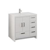 Imperia 36'' Freestanding Single Right-Styled Bathroom Vanity Cabinet with Integrated Sink in Glossy White Finish, 35-7/10'' W x 18-1/2'' D x 35-2/5'' H