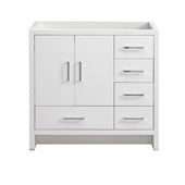 Imperia 36'' Freestanding Single Right-Styled Bathroom Vanity Cabinet in Glossy White Finish, 35-1/2'' W x 18-2/5'' D x 34-3/10'' H