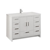 Imperia 48'' Freestanding Single Bathroom Cabinet with Integrated Sink in Glossy White Finish, 47-1/2'' W x 18-1/2'' D x 35-2/5'' H