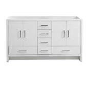 Imperia 60'' Freestanding Double Bathroom Vanity Cabinet in Glossy White Finish, 59-1/10'' W x 18-2/5'' D x 34-3/10'' H