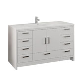 Imperia 60'' Freestanding Single Bathroom Vanity Cabinet with Integrated Sink in Glossy White Finish, 59-3/10'' W x 18-1/2'' D x 35-2/5'' H