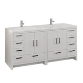 Imperia 72'' Freestanding Double Bathroom Vanity Cabinet with Integrated Sinks in Glossy White Finish, 71-1/10'' W x 18-1/2'' D x 35-2/5'' H