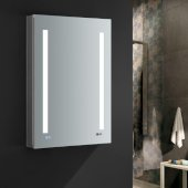 Tiempo 24'' Wide x 36'' Tall Bathroom Medicine Cabinet w/ LED Lighting & Defogger, Door Swing Right, 24'' W x 5'' D x 36'' H
