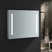Tiempo 36'' Wide x 30'' Tall Bathroom Medicine Cabinet w/ LED Lighting & Defogger, 36'' W x 5'' D x 30'' H