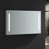 Tiempo 48'' Wide x 30'' Tall Bathroom Medicine Cabinet w/ LED Lighting & Defogger, 48'' W x 5'' D x 30'' H