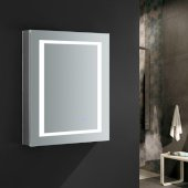 Spazio 24'' Wide x 30'' Tall Bathroom Medicine Cabinet w/ LED Lighting & Defogger, Door Swing Left, 24'' W x 5'' D x 30'' H