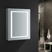 Spazio 24'' Wide x 30'' Tall Bathroom Medicine Cabinet w/ LED Lighting & Defogger, Door Swing Right, 24'' W x 5'' D x 30'' H