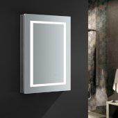 Spazio 24'' Wide x 36'' Tall Bathroom Medicine Cabinet w/ LED Lighting & Defogger, Door Swing Left, 24'' W x 5'' D x 36'' H