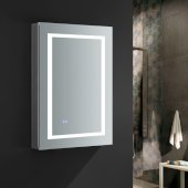 Spazio 24'' Wide x 36'' Tall Bathroom Medicine Cabinet w/ LED Lighting & Defogger, Door Swing Right, 24'' W x 5'' D x 36'' H