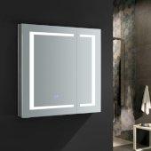 Spazio 30'' Wide x 30'' Tall Bathroom Medicine Cabinet w/ LED Lighting & Defogger, 30'' W x 5'' D x 30'' H