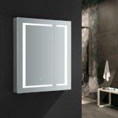 Spazio 30'' Wide x 36'' Tall Bathroom Medicine Cabinet w/ LED Lighting & Defogger, 30'' W x 5'' D x 36'' H