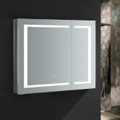 Spazio 36'' Wide x 30'' Tall Bathroom Medicine Cabinet w/ LED Lighting & Defogger, 36'' W x 5'' D x 30'' H