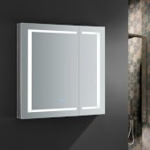Spazio 36'' Wide x 36'' Tall Bathroom Medicine Cabinet w/ LED Lighting & Defogger, 36'' W x 5'' D x 36'' H