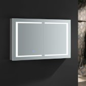 Spazio 48'' Wide x 30'' Tall Bathroom Medicine Cabinet w/ LED Lighting & Defogger, 48'' W x 5'' D x 30'' H