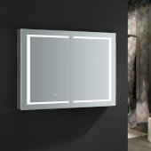 Spazio 48'' Wide x 36'' Tall Bathroom Medicine Cabinet w/ LED Lighting & Defogger, 48'' W x 5'' D x 36'' H