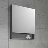 24'' Wide Gray Bathroom Wall Mounted Frameless Medicine Cabinet with Small Bottom Shelf, Dimensions: 24''W x 33-1/2''H x 6''D