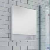 24'' Wide White Bathroom Wall Mounted Frameless Medicine Cabinet with Small Bottom Shelf, Dimensions: 24''W x 33-1/2''H x 6''D