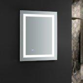 Santo 24'' Wide x 30'' Tall Bathroom Mirror, LED Lighting and Defogger, 24'' W x 1-1/4'' D x 30'' H