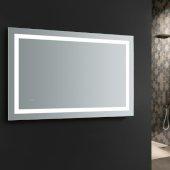 Santo 48'' Wide x 30'' Tall Bathroom Mirror, LED Lighting and Defogger, 48'' W x 1-1/4'' D x 30'' H