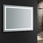 Santo 48'' Wide x 36'' Tall Bathroom Mirror, LED Lighting and Defogger, 48'' W x 1-1/4'' D x 36'' H