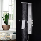 Modena Stainless Steel Wall Mounted Thermostatic Shower Massage Panel in Brushed Silver, Dimensions: 57'' H x 8'' W x 20'' D
