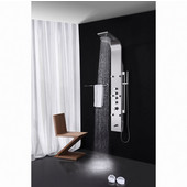 Palermo Stainless Steel Wall Mounted Thermostatic Shower Massage Panel in Brushed Silver, Dimensions: 59'' H x 7'' W x 18'' D