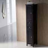 Oxford Freestanding Espresso Tall Bathroom Linen Cabinet, Dimensions: 14'' W x 15-3/4'' D x 68'' H