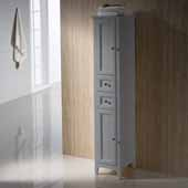 Oxford Freestanding Gray Tall Bathroom Linen Cabinet, 14'' W x 15-3/4'' D x 68'' H