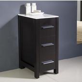 Torino 12'' Espresso Freestanding Bathroom Linen Side Cabinet, Dimensions: 12'' W x 17-3/4'' D x 28-1/8'' H