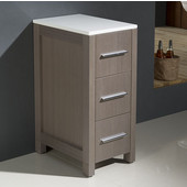 Torino 12'' Gray Oak Freestanding Bathroom Linen Side Cabinet, Dimensions: 12'' W x 17-3/4'' D x 28-1/8'' H