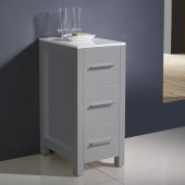 Torino 12'' W Gray Freestanding Bathroom Linen Side Cabinet, 12'' W x 17-3/4'' D x 28-1/8'' H