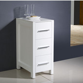 Torino 12'' White Freestanding Bathroom Linen Side Cabinet, Dimensions: 12'' W x 17-3/4'' D x 28-1/8'' H